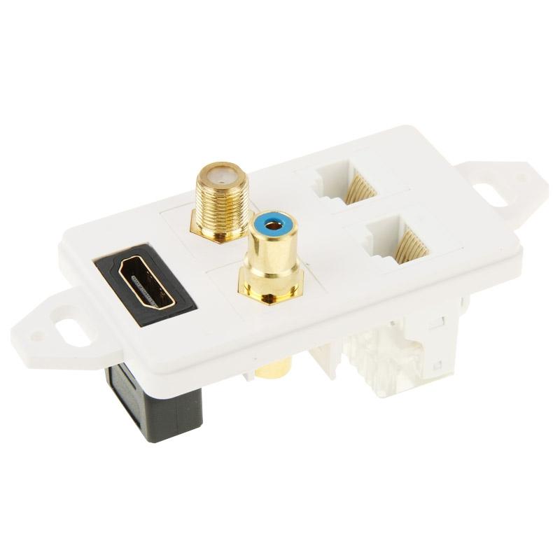 Розетка HDMI + RCA + 2 x RJ45 + коаксиал
